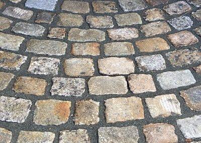 Granit-Kopfstein pflaster radial verlegt